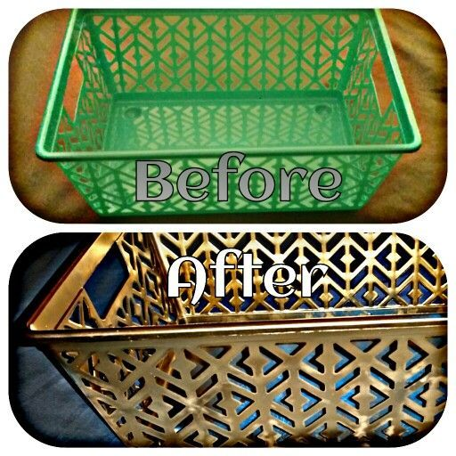 Dollar Tree finds. From drab to fab. Container from dollar tree. Spray paint it the color of your chose. A simple and easy way to glam up dollar tree bins.