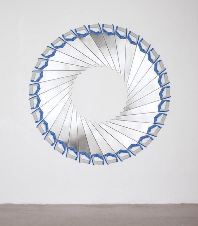 Somehow I really like art made with stuff you can buy at the hardware store. Untitled Endless Cut by Jacob Dahlgren.