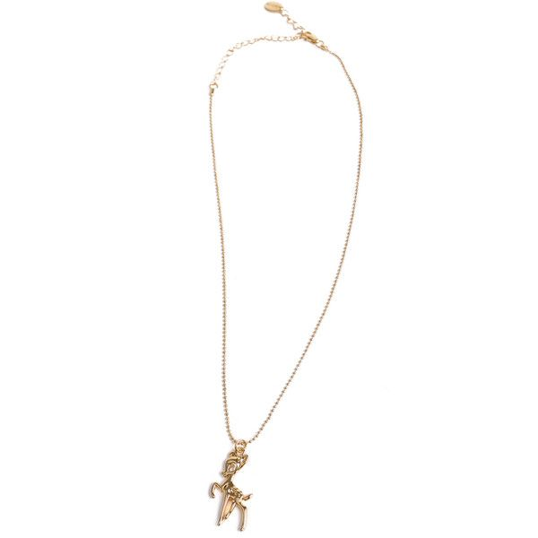 BAMBI Vergoldete Halskette mit Bambi-Anhänger ($37) ❤ liked on Polyvore featuring jewelry, necklaces, disney couture, disney couture necklace and disney couture jewelry