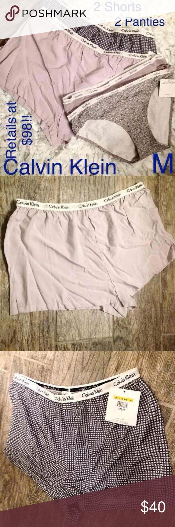 New! Calvin Klein Set of 2 Lounge Shorts & Panties Brand new!  *Fits true to size  Fav combos!  Both sets are so incredibly soft, and feel incredibly good on ones skin!  +So, so, SO soft & light-weight  +Perfect for summer!  Panties +Bikini +Taupe/ White band, Light Grayish//Blue w/Gray Floral  +Elastic band for comfort and security w/repeating 'Calvin Klein'   95% Cotton 5% Elastane   Shorts  +Color: Taupe/White band, Light Blue w/Darker Blue Design/White band   +Elastic band for comfort…