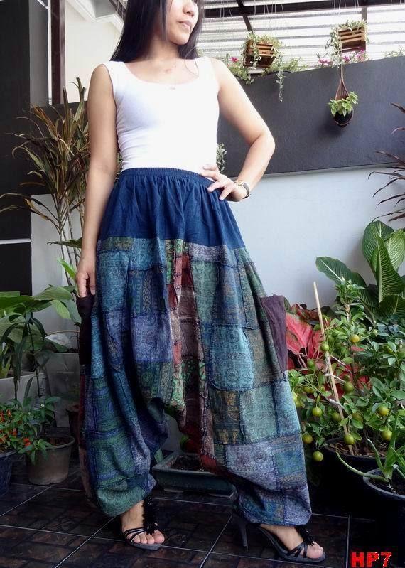 HP7-Unisex Drop Crotch Ohm Unique Patchwork Harem Baggy Pants,100%Cotton #TribalFashion #CasualHaremDropCrotchHippie