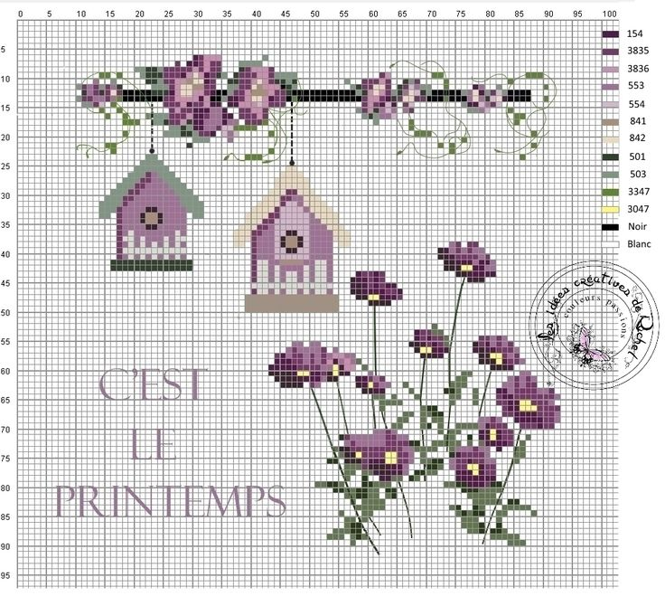 Cross stitch, pattern spring, garden