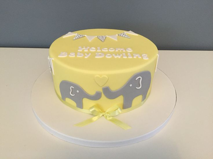 Cute baby shower cake, mummy and baby elephant!