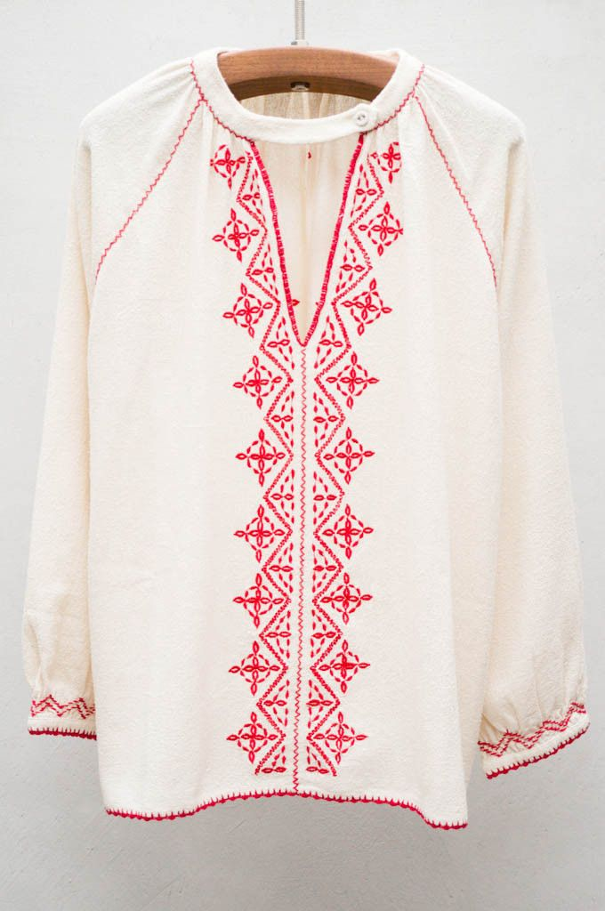 Cream and red embroidered top for a free spirit vibe on