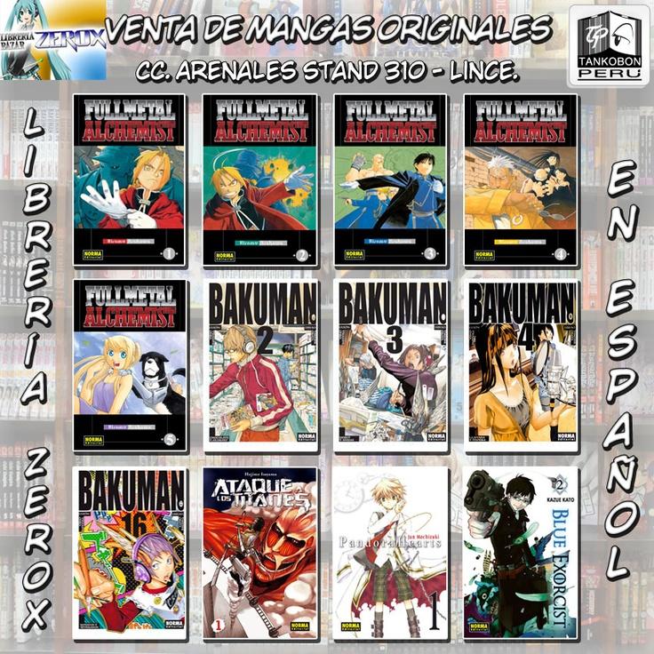 Venta de mangas originales en español: Full Metal Alchemist #1, Full Metal Alchemist #2, Full Metal Alchemist #3, Full Metal Alchemist #4, Full Metal Alchemist #5, Bakuman #2, Bakuman #3, Bakuman #4, Bakuman #16, Ataque a los Titanes #1, Pandora Hearts #1, Blue Exorcist #2. Encuéntralos en la Librería Zerox.