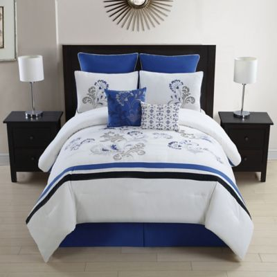 sleep in style with the charming celestine comforter set decorated with a bright floral design and accented with black and purple contrasting panels