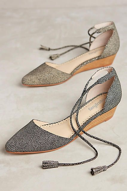 Loving the subtle wedge and ankel tie closure of the Farylrobin Finn Micro…