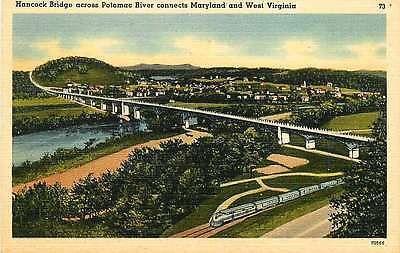 Hancock Bridge Between West Virginia WV Maryland MD 1940s Vintage Linen Postcard