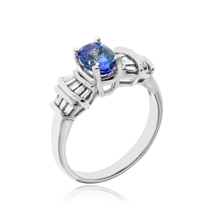 14kt white gold lady's tanzanite and diamond ring.