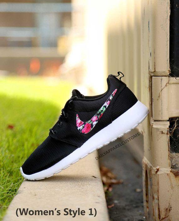 8f4422e00bbe5c Custom Floral Roses Nike Roshe Run Shoes Fabric Pattern Mens Womens  Birthday Present