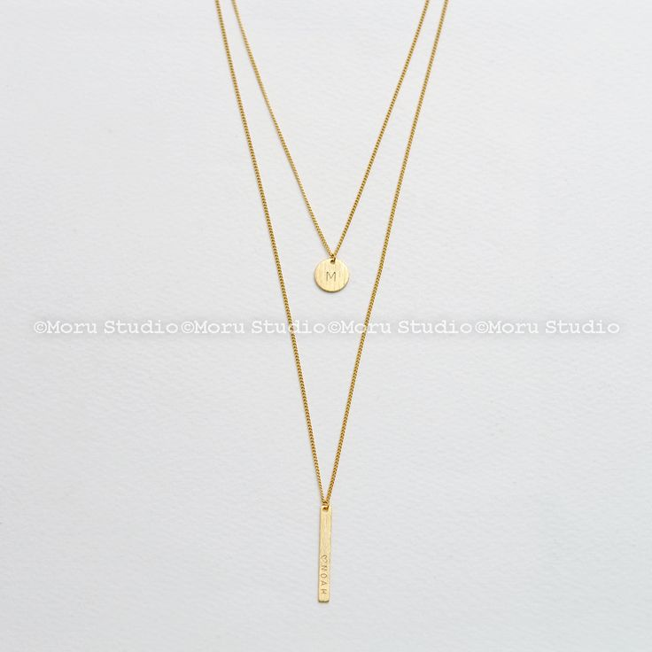 Vertical Bar Necklace with Disc Set, Layered Necklaces Set, Skinny Bar & Disk Necklace, Long Necklace, Handstamped Initial, Monogram NCR085 by MoruStudio on Etsy