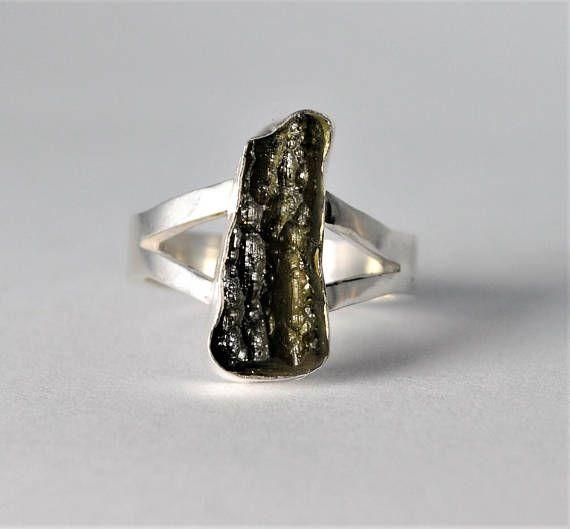 Moldavite Ring Sterling Silver Size Uk J Us 5 Moldavite Jewelry Sterling Silver Rings Moldavite