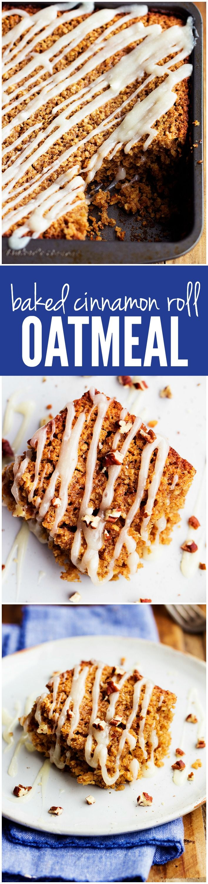 This Baked Cinnamon Roll Oatmeal will be one of the best breakfasts you ever make! It is quick and easy and has all of the delicious flavors of a cinnamon roll!