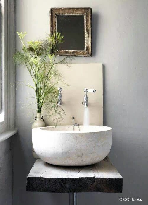 Wood and stone bathroom sink