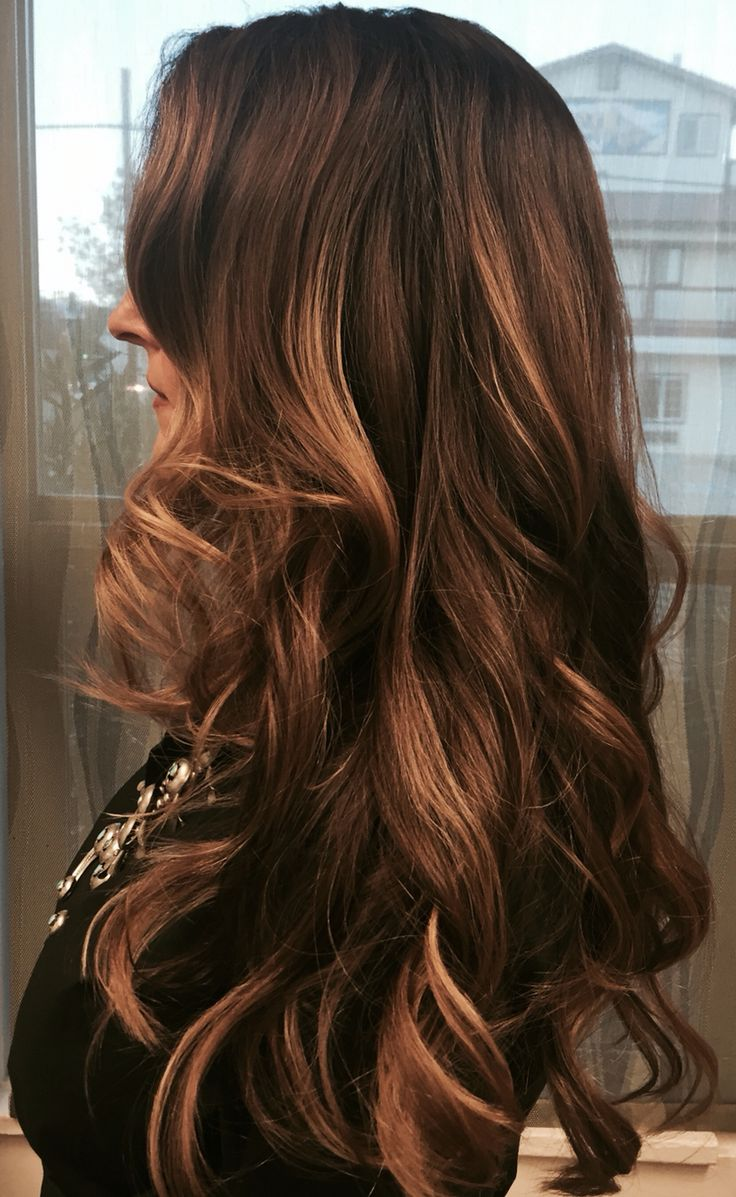 Balayage With Rich Warm Woodsy Brown Roots Fading Into