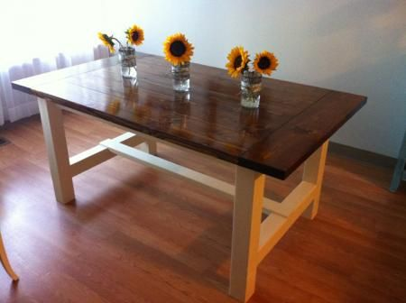 Farmhouse table free plans at ana dining room for Modern farmhouse table plans