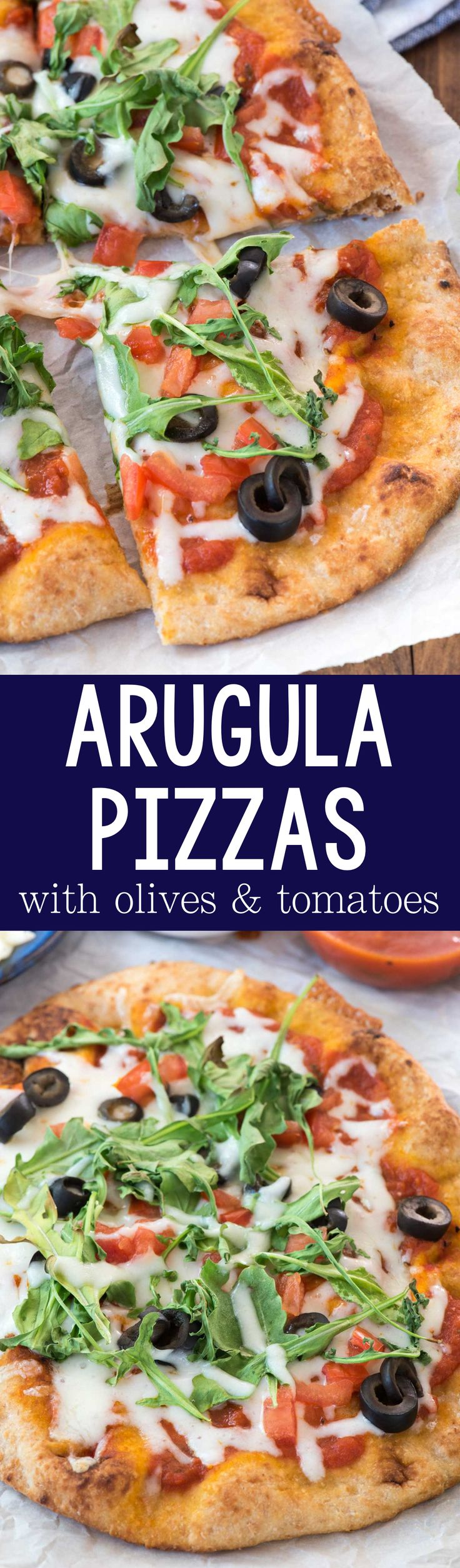 Arugula Pizzas - such an easy dinner recipe! Use mini pizza dough or naan for an easy weeknight meal everyone loves - with a little bit of greens!!