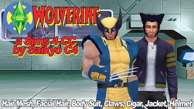 My Sims 4 Blog: Wolverine Hair, Facial Hair, Bodysuit, Claws and M...