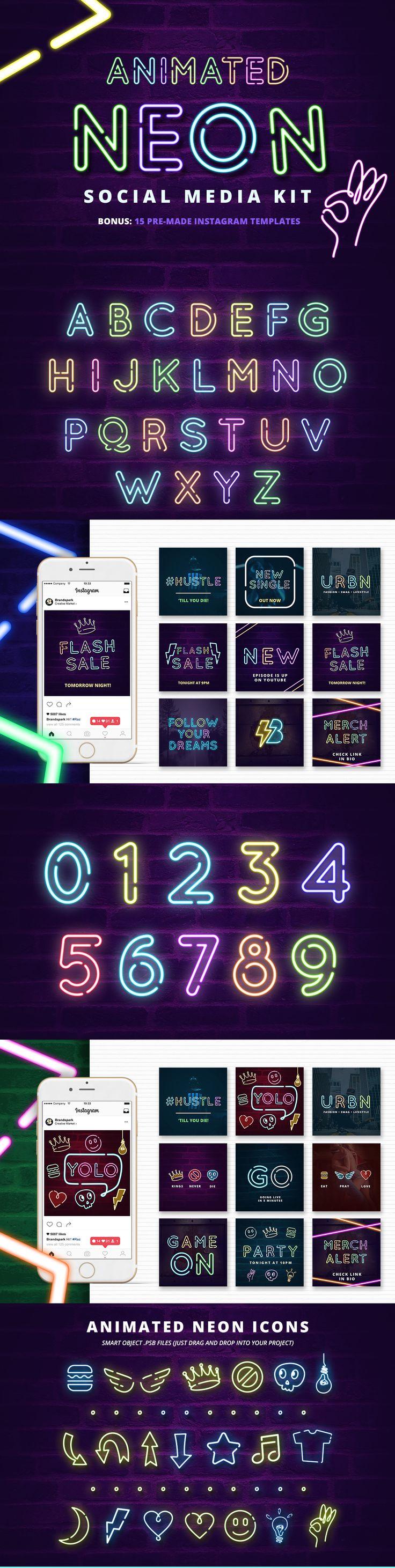 Neon #SocialMedia Kit + Bonus | #masterbundles