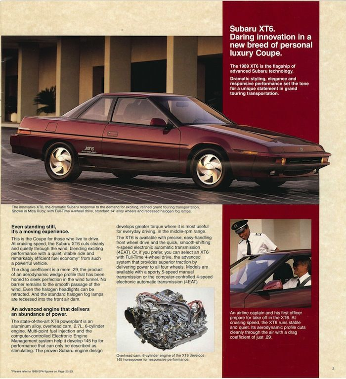"1989 #Subaru #Brochure: #XT6. ""Daring innovation in a new breed of personal…"