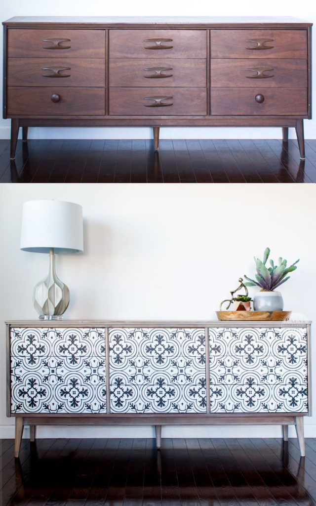 Diy modern vintage furniture makeover Yhome Awesome Diy Mcm Dresser Buffet Makeover Using Vintage Cement Tile Pattern Love Custom Painted Midcentury Modern Furniture Pinterest Diy Mcm Buffet Makeover Diy Projects To Try Pinterest Modern