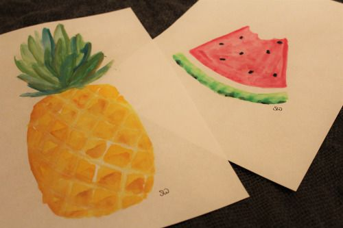 Watercolours! I have been trying some fruits by heart.