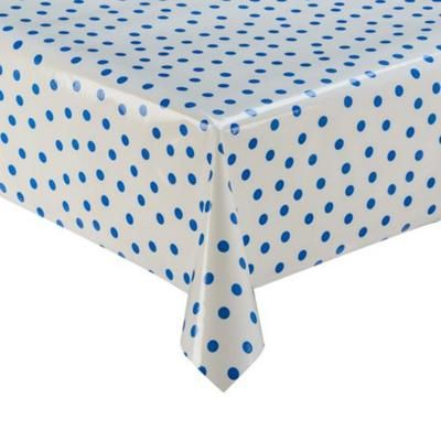 Dark Blue Polka on White Oilcloth Tablecloth - Up To 50% OFF