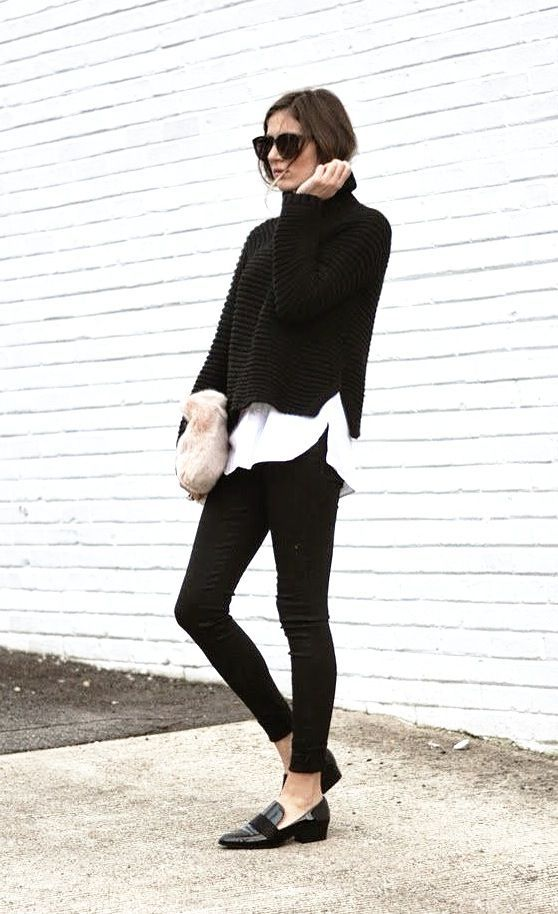 Classic fall look - updated black cropped pant, loafers and a tasteful turtleneck