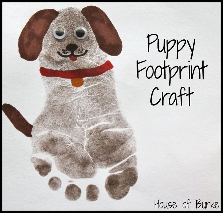 Puppy Print Craft- -way cuter than painted footprint.                                                                                                                                                      More
