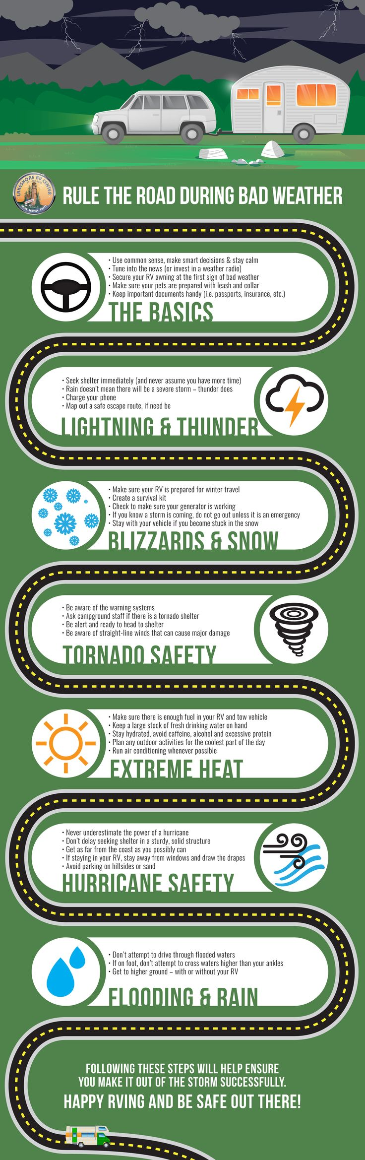 This complete guide for RVing in bad weather will help you to prepare and help lead you to safety, no matter what Mother Nature has in store!