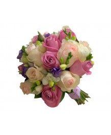 Aranjamente nunta si botez Buchet de mireasa trandafiri roz si ciclam