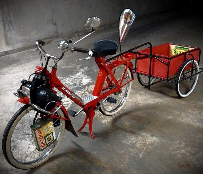 roues blanches remorque solex rouge vintage retro méditerrannée mobylette chrome