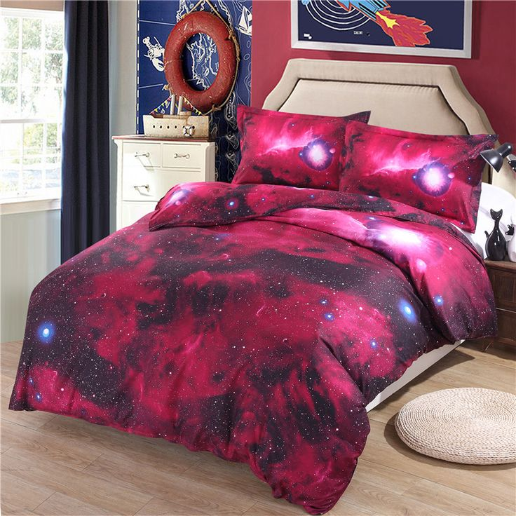 Hot Sale 3D Galaxy Red Color Starry Universe Design Duvet Cover Sets For Bedroom With Pillowcase Duvet Covet Flat Sheet