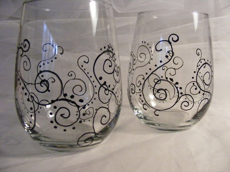 hand painted stemless wedding or bridesmaid wine glasses with scroll paisley design - can order in custom colors. $25.00, via Etsy.