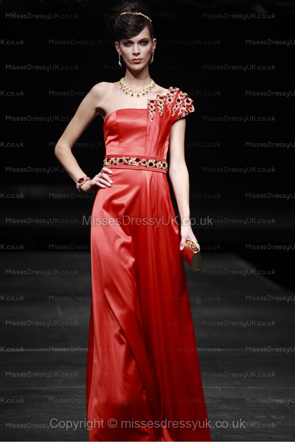 A-line One Shoulder Satin Floor-length Red Rhinestone Evening Dress