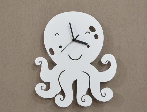 Octopus Kids Cartoon Silhouette - Wall Clock