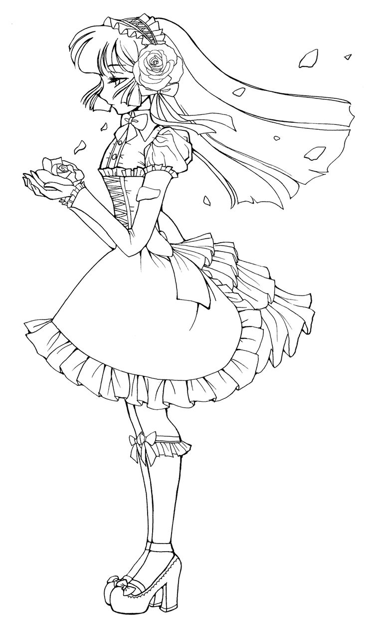 lolita coloring pages - on DeviantArt - This lovely line are IS free to color but.... if you're looking at lineart on this website be sure to read the description box because not all line art is free to color respect the artists copyrights please.