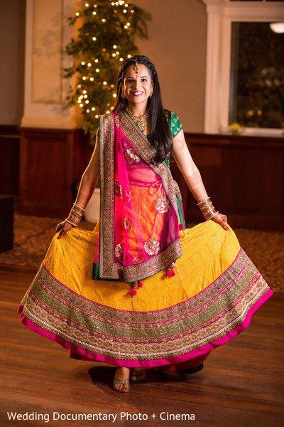 Indian wedding photography. Bridal photo shoot ideas. Indian bride wearing bridal lehenga and jewelry. #IndianBridalHairstyle #IndianBridalMakeup