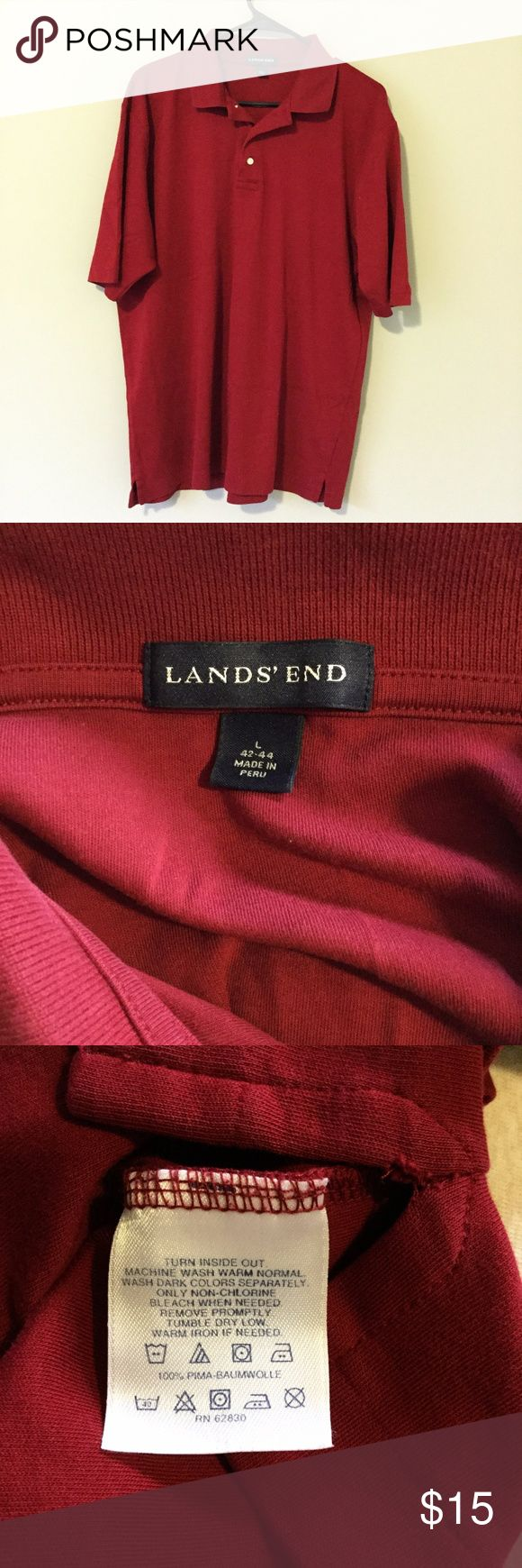 Lands' End Men Maroon Short Sleeve Polo Shirt Good used condition.  No rips, tears or stains.  See pictures for details.  See description for measurements.  100% Pima Baumwolle  Shoulder - 19 inches Sleeve - 11 inches Bust - 22 inches Length - 29 inches Lands' End Shirts