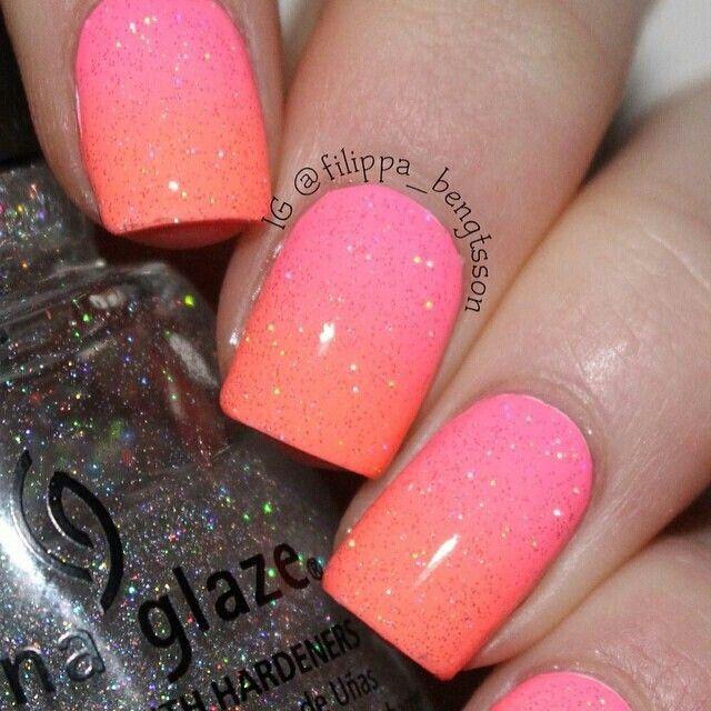 Ombré #nailart #ombrenails #pink #orange #degrade