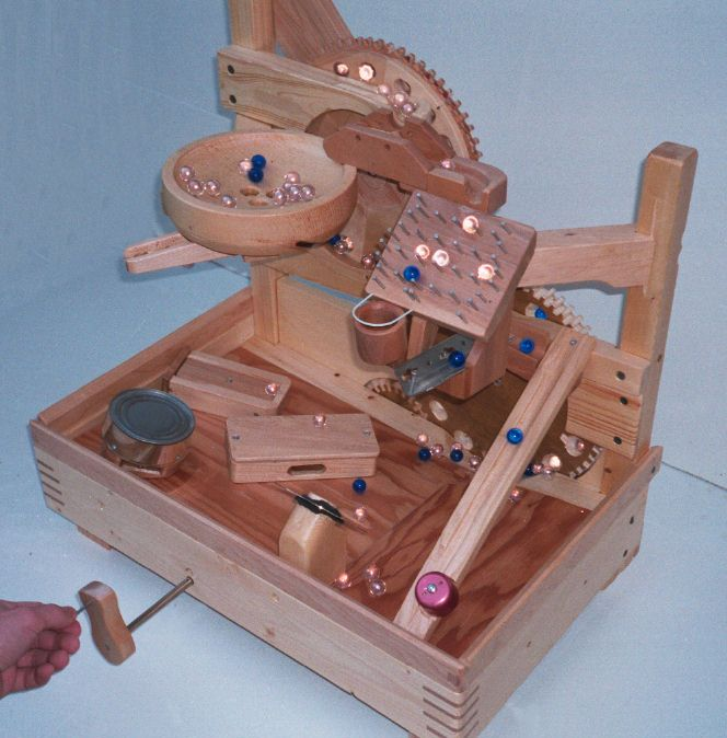 A homemade marble machine. May provide some helpful insights for prototyping toys.