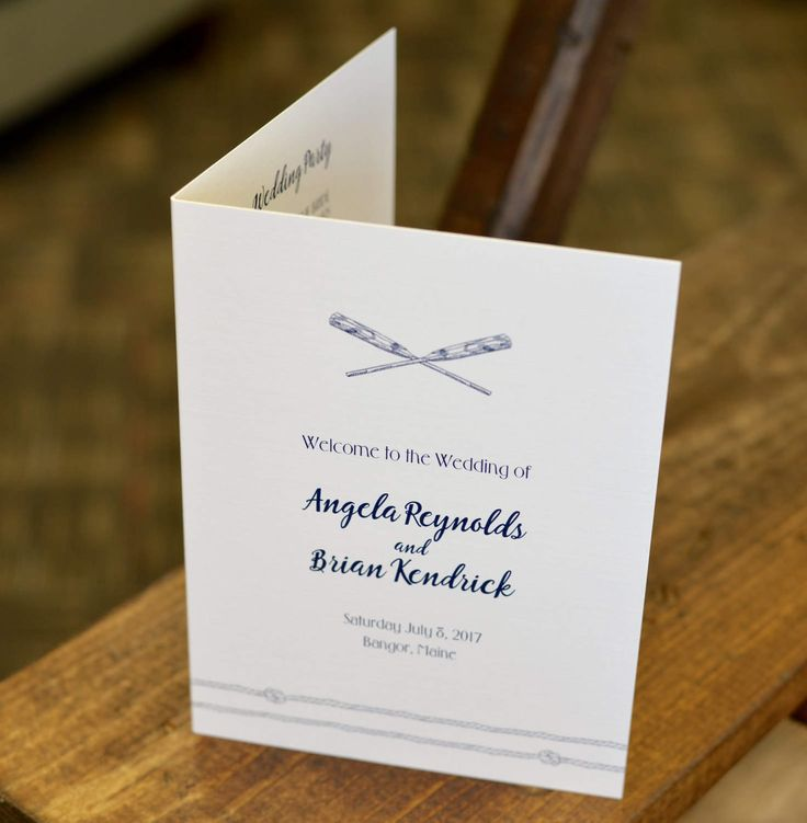 Coastal Rowboat Design Folded 5x7 Wedding Program