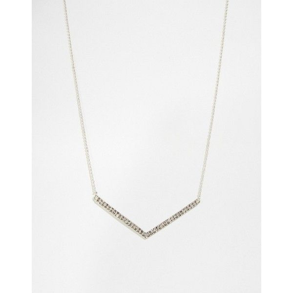 Pilgrim Silver Plated V Necklace With Crystal ($9.98) ❤ liked on Polyvore featuring jewelry, necklaces, silver, adjustable necklace, adjustable chain necklace, pilgrim necklace, pilgrim jewellery and chains jewelry