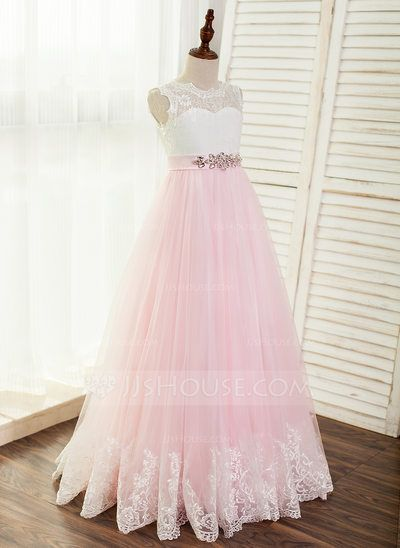 13e6bb2167 Linia A Księżniczka Do Podłogi Sukienka dla Dziewczynki Sypiącej Kwiaty -  Tiul Koronka Bez
