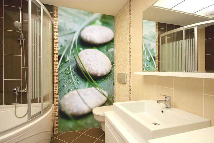 Wallpaper with laminate is perfect for bathroom.