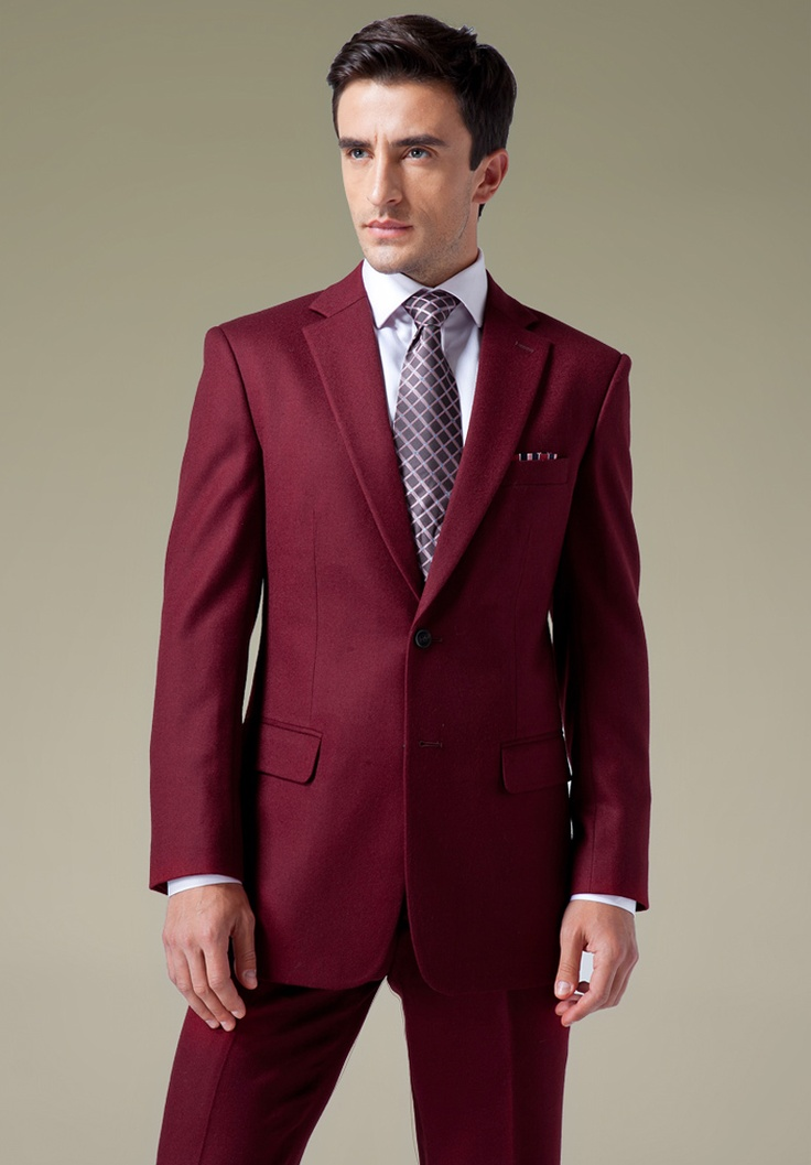 SKU# MU99 Dark Burgundy~Wine 2or3or4 buttons Mens Dress Suits $90 SKU# LQX Dark Burgundy 2 Button Front 4 on Sleeves Fully Lined Metal Button (Men + Women) $ SKU# BLJ BURGUNDY FASHION ZOOT SUIT 38'INCH LONG JACKET WITH COVERED BUTTON.