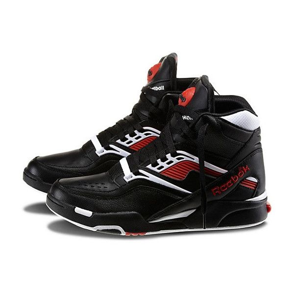 Reebok Twilight Zone Pump Black/White-Red ❤ liked on Polyvore featuring shoes, pumps, reebok footwear, red shoes, white and black shoes, black and white pumps and reebok pump