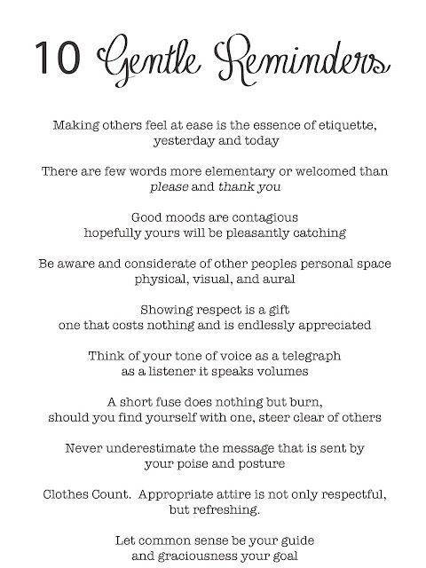 wisdom for good etiquette and getting along well in life. Simple tips to being other centered vs. self centered.
