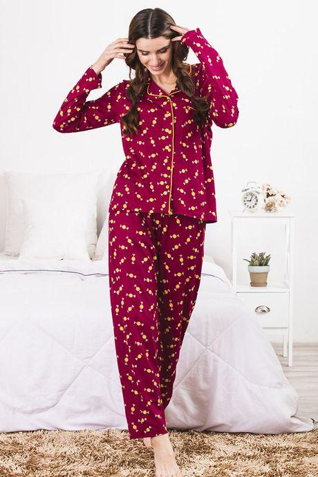 f29c3324e695 Cute Prints Night Dresses for Women Online in India. Buy Zivame Sleep Shirt  N Pyjama Set- Maroon N Print at Rs.1595 online | Nightwear online