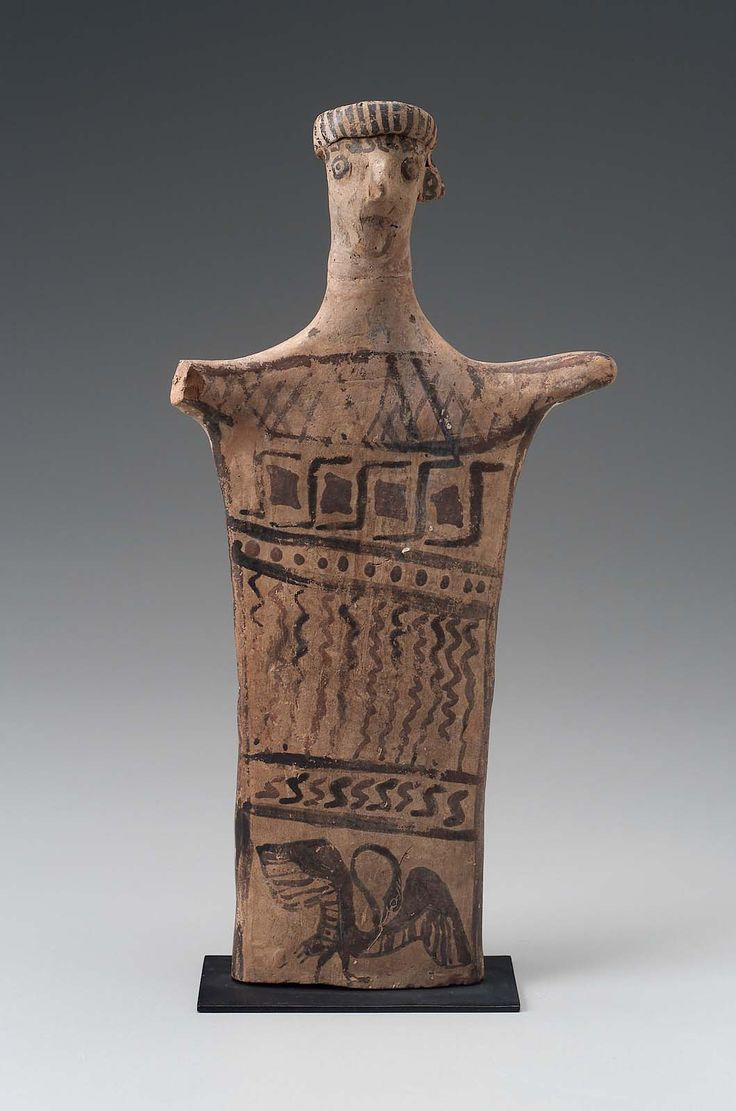Terracotta female idol. Greek. Archaic Period. 625-550 B.C. | The Museum of Fine Arts, Boston